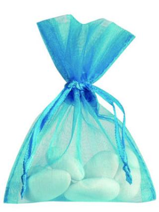 10 BOURSES ORGANZA - TURQUOISE